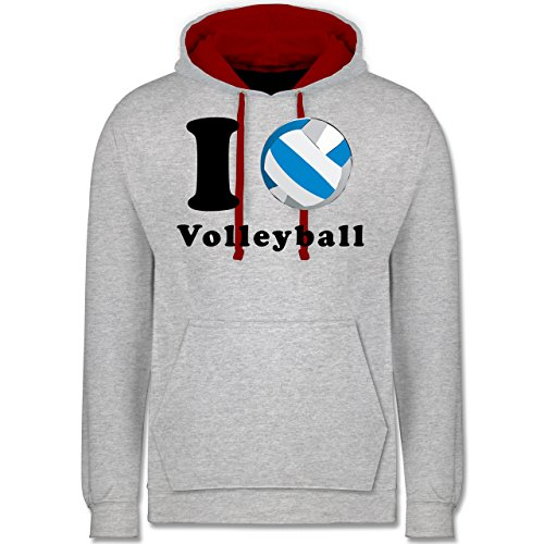 Volleyball - I Love Volleyball - Kontrast Hoodie Grau Meliert/Rot