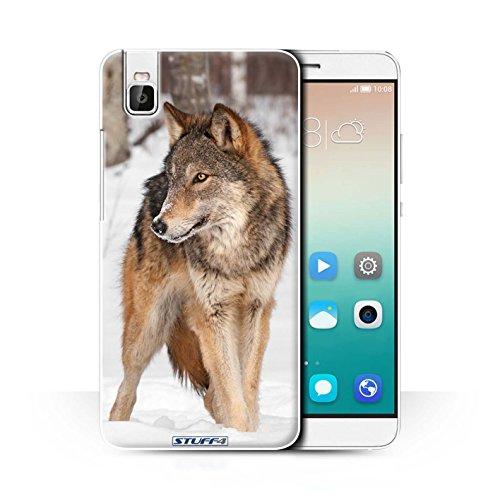 Stuff4® Hülle/Case für Huawei Honor 7i/ShotX/Wolf Muster/Wilde Tiere Kollektion