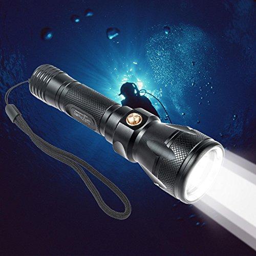 TurnRaise 1200LM Tauchen Taschenlampe Unterwasser 100m wasserdicht Submarine Licht (Tauchen Licht)