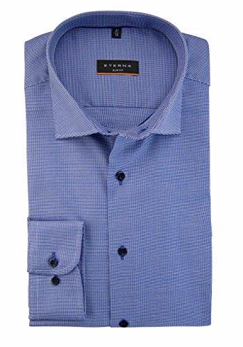 Eterna Long Sleeve Shirt Slim Fit Twill-Stretch Structured blu marino/bianco
