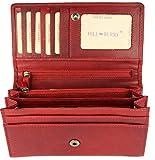 Hill Burry hochwertige Vintage Leder Damen Geldbörse Portemonnaie langes Portmonee Geldbeutel aus weichem Leder in rot - 17,5x10x3cm (B x H x T)