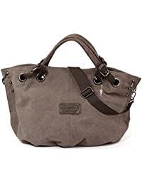 Bag Street Damen Shopper Handtasche Schultertasche Beutel Canvas 4530, Farbe:Braun