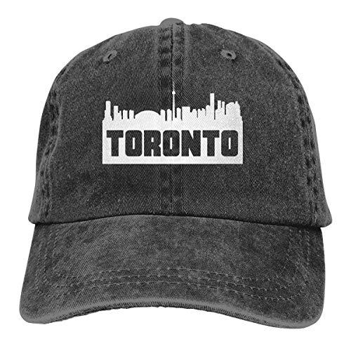 j65rwjtrhtr Men Women Adjustable Vintage Jeans Baseball Cap Toronto Ontario Skyline Silhouette Hiphop Cap