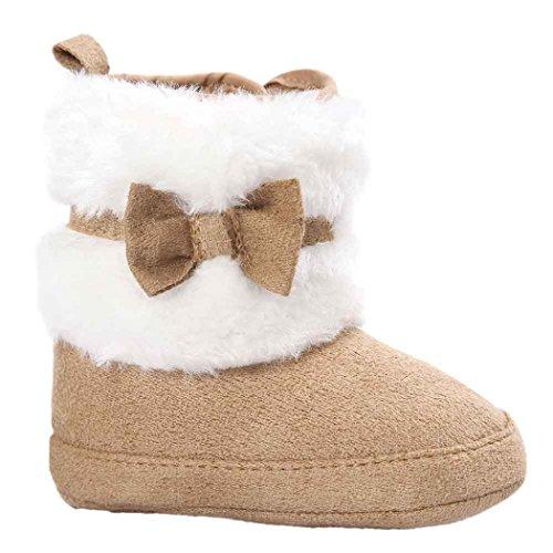 Tonsee Bébé bowknot hiver chaud semelle douce bottes de neige berceau chaussures tout-petits (12-18 mois, Kaki)