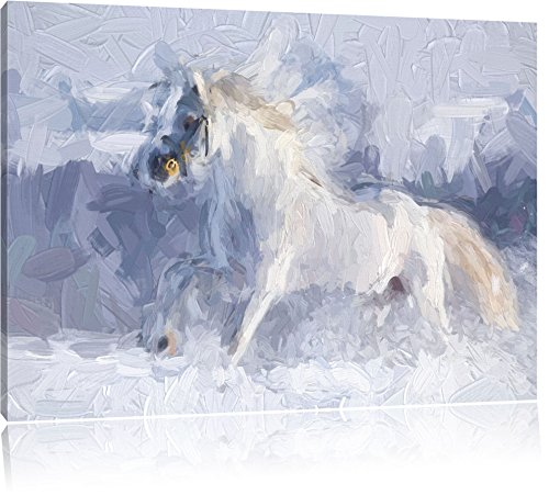 Cavallo bianco in effetti pennello neve prato, formato: 100x70 su