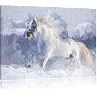 Cavallo bianco in effetti pennello neve prato,