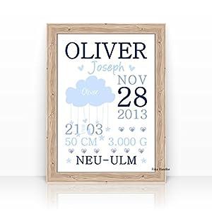 Personalisierte Geburtsanzeige Wolke - Geschenk zur Geburt, Taufe, Geburtstag-TAUFGESCHENK-KINDERBILD-Format A4 oder A3-Ohne Rahmen