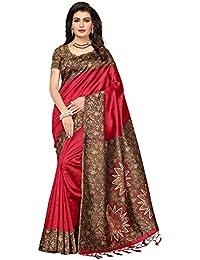 Ishin Poly Synthetic Printed Women's Saree Sari With Tassels