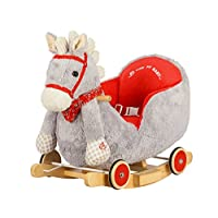 Dunjo® Rocking Horse Grey with sound and wheels for riding, 65491