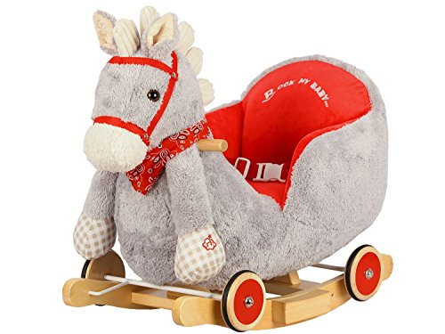 Dunjo� Rocking Horse Grey with sound and wheels for riding, 65491