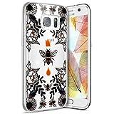 Galaxy S7 Hülle,Surakey Crystal Clear Transparent Handyhülle TPU Silikon Backcover Case Blüten Biene Muster Schutz HandyHülle Tasche Hülle für Samsung Galaxy S7