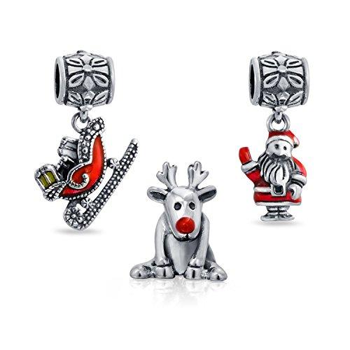 Bling Jewelry 925er Silber Rudolph Santa Schlitten Weihnachten Bead Set (Silber Santa Hut)