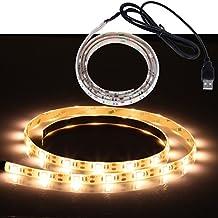 Liqoo® 1m Tira LED Strip de Interior Exterior Blanco Cálido Impermeable IP65 5050 SMD 30 leds Alimentación USB 5V 2.0 con Adhesivo Decoración para hogar Jardín fiesta boda Navidad [Clase de eficiencia energética A+]