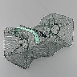2pcs Crab Fish #P Lobster Shrimp Fishing Bait Cast Net Hoop Cage Trap Foldable