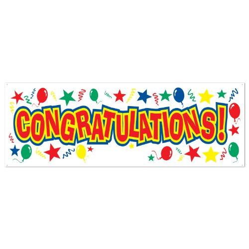 Beistle Congratulations Sich, Banner, Geschenkpapierrolle 150cm von 53,3cm