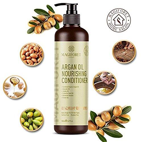 Magiforet conditionneur de cheveux, Conditionneur d'huile d'argan, Naturel pour cheveux colorés abîmés à sec, Produits de salon professionnels pour tous les types de cheveux Usage quotidien 500 ml