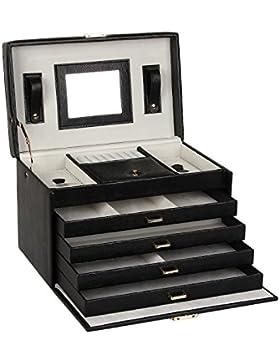 Schmuckkästchen mit 4 Schubladen und Spiegel Schmuckkasten Schmukkoffer Schmuckschatulle 31x20x20cm ZG106