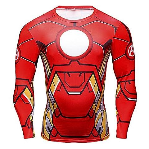 16027Xl - Jersey T-Shirt Sport Lange HüLse Mit Release Iron Man FÜR Man Size Xl