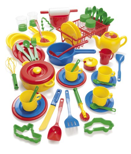 Dantoy Plastic Kitchen Pretend Play Set with 59 Pieces for Kids, Made in Denmark – Multi Colour