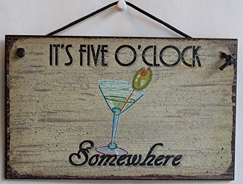 Acove 5x 8Schild Vintage Style mit Martini Glas Sagen, Es ist Fünf Uhr Irgendwo Dekorative Fun Universal Haushalts-Schilder