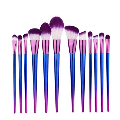 Fashion Base® Pro Techniques 12 pcs dégradé arc-en-ciel Pinceaux de maquillage Fantasy Ensemble de fond de teint poudre Fard à paupières Kits