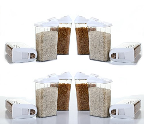 Slings 12 Pcs Easy Flow Kitchen Container Set Storage Box Perfect for Cereals, Rice, Pulses, 1100 ml, Clear View