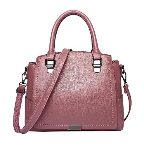 WanYang Donna Borsa Handbag A Spalla Righe In PU Cuoio Annata Della Borsa Del Cuoio Del Sacchetto Di Spalla Del Tote Della Rosa