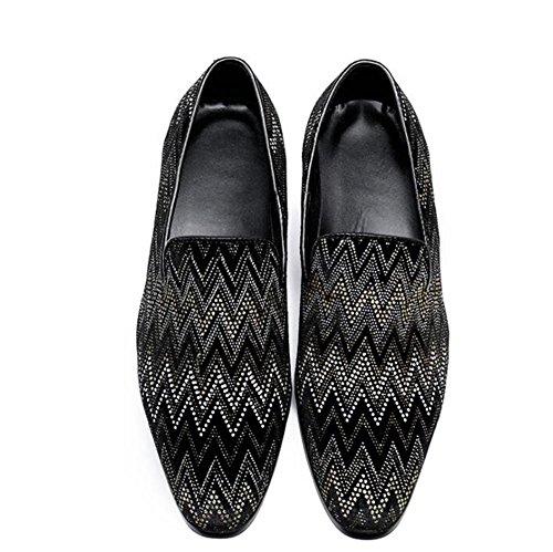 Hommes Chaussures En Cuir Mode Mocassins Vague Motif Affaires Formelle Party Club Noir Taille 38 à 45 Black