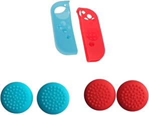 Segolike Blue+Red Silicon Controller Protective + Thumb Cap Cover for Nintendo Switch
