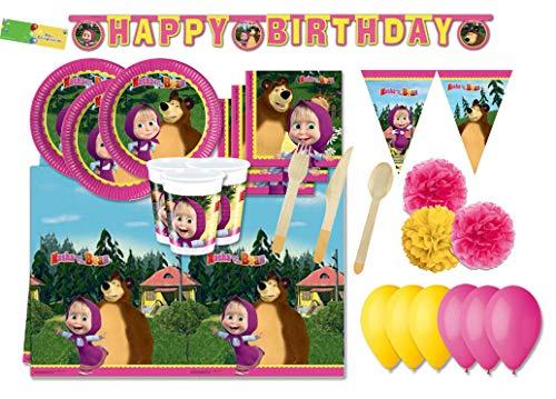 DECORATA PARTY Kit N 71 Coordinato per Compleanno Masha e Orso