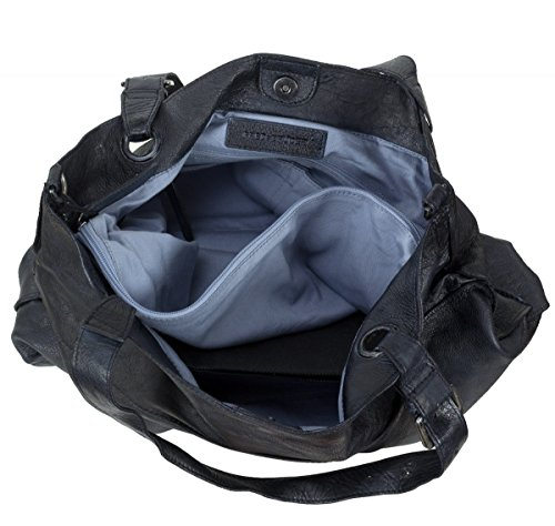 FredsBruder Waxed Leather Shopzilla CW Sac fourre-tout Shopper cuir 50 cm Bleu marine