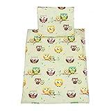 TupTam Baby Kinderwagen Bettwäsche Set Wiegenset 60x75 4 tlg, Farbe: Eulen 2 Beige, Größe: ca. 60 x 75 cm