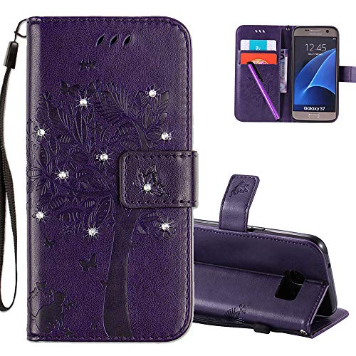 1304908b4df COTDINFOR Samsung Galaxy S7 Funda Mujer Chica Elegante Suave PU Cuero Flip  Cuero Billetera Estuche Cárcasa