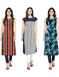 Pramukh Fashion crepe kurti pack of 3 kurtis combo