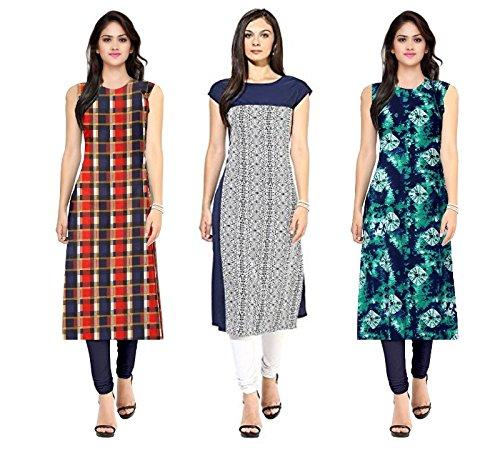 Pramukh Fashion Women\'s crape kurtis (1052.1057.crape blue)_Free Size semi stich
