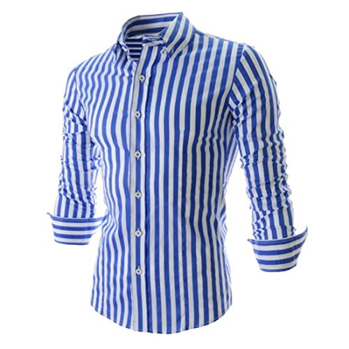 Men's Fashion Striped Turndown Collar Long Sleeve Slim Fit Shirts blue