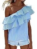 Choies Damen One Shoulder T-shirt mit Volants Basic Streifen Sommer Oberteil Tops Blau M