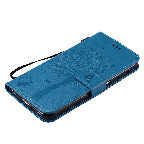 Coque pour iPhone 6 6S Plus,Cozy Hut Coque PU Cuir Silicone Etui Housse de Protection Coque Étui Case Cover,Flip Wallet Housse Arbre Feuille Papillon Chat Motif Style Design Mode Bookstyle Case Porte  bleu