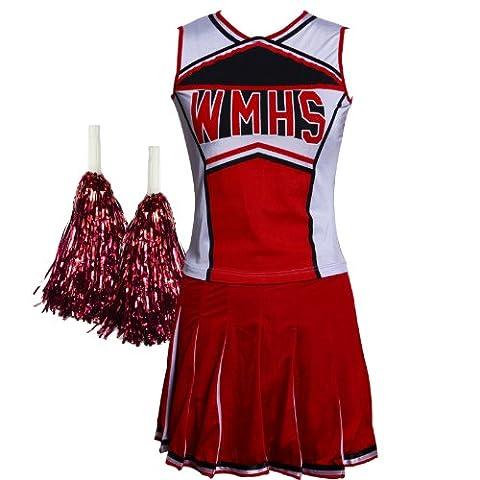 Damentraum Déguisement sexy de pom-pom girl avec pompons Style Glee/High School Musical - rouge - S
