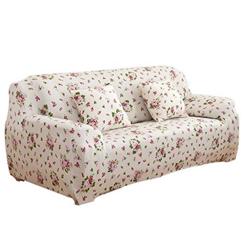 Homyl Universal Landhaus Stretch Sofabezüge Sofahusse Couch Husse, Weich und Beque für 3er- Sofa - Continental rosa, 190-230cm (Blaue Hussen Für Couch)