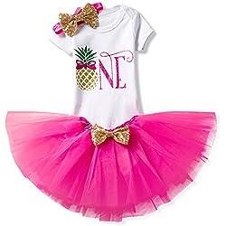 Bebé Niña Vestido Cumpleaños 3pcs Corona Patrón de Primer/Segundo Cumpleaños para Vestido de Tutú Piña rosa/1años