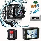 Mengen88 Telecamera d'azione WiFi, Camma Subacquea Subacquea 1080P 4K con Schermo da 2,0 Pollici e Obiettivo grandangolare da 140 Gradi, per Immersioni in maneggio
