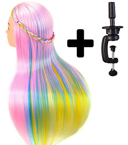 Tête à coiffer de cosmétologie 60 cm, cheveux 100% synthétiques couleur arc-en-ciel, pour apprentissage de coiffeur, tête à coiffer avec serre-joint pour table et mini-brosse démêlante.