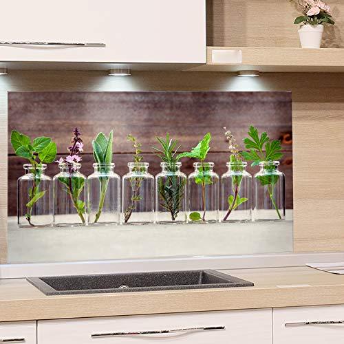 GRAZDesign Spritzschutz Glas für Küche, Herd Bild-Motiv Kräuter im Glas Küchenrückwand Küchenspiegel Glasrückwand (80x50cm)