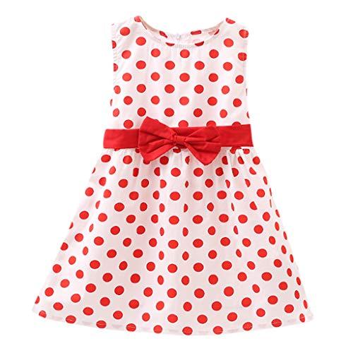 LEXUPE Säuglingskindbaby-Sommer-Punkt-Bowknot-ärmellose Prinzessin Dress Clothes(Rot,10)