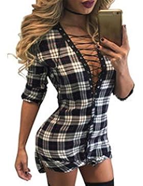 Mujer Fiesta Sexy Profundo Cuello V Vendaje Apretado Mini Vestido Slim Vestidos de Camisetas Moda Enrejado Corto...