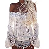 Mujer Encaje Blusas de manga larga Camisas sin tirantes (M, Blanco)