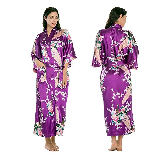 LIUDOU Satin robe de nuit vêtements de nuit pyjama peignoir , purple , xxxl