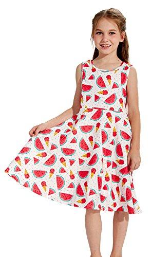 Funnycokid Hipster Mädchen Wassermelone Gedruckt Cartoon-Muster Ärmelloses A-Linie Kleid (Linien Hipster)