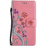 LG G5 Hülle Leder, Lomogo Schutzhülle Brieftasche mit Kartenfach Klappbar Magnetverschluss Stoßfest Kratzfest Handyhülle Blumenprägung Case für LG G5 (H850) - HOHA23242 Rosa